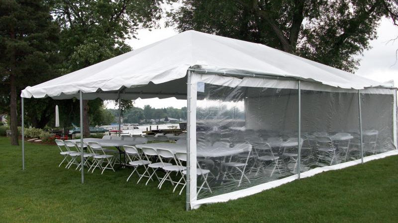 Clear tent sidewall