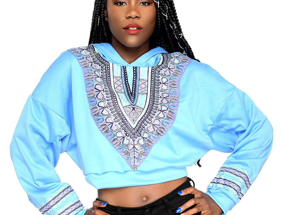 Women's Authentic Dashiki Oversized Cropped Hoodie