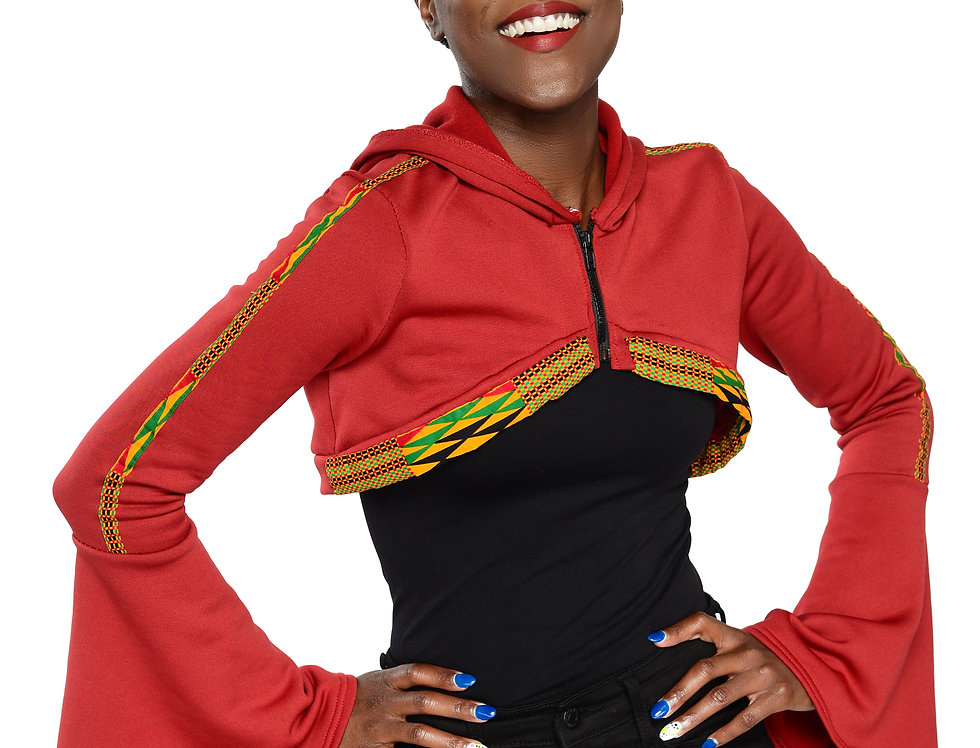 Women's Authentic Kente Clothed Hooded Over-The-Chest Jacket