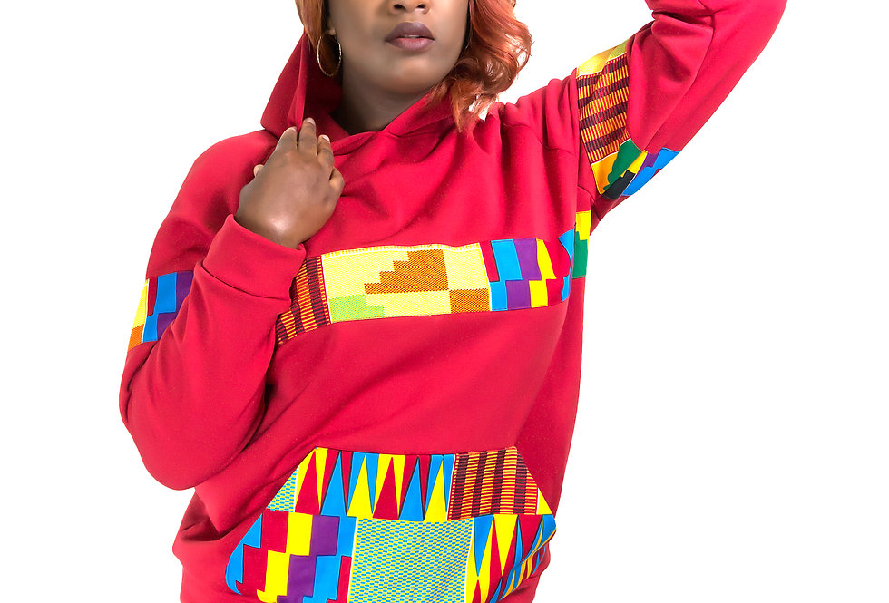 Unisex Authentic Kente Clothed Patterned Hoodie (Heritage Hoodie)