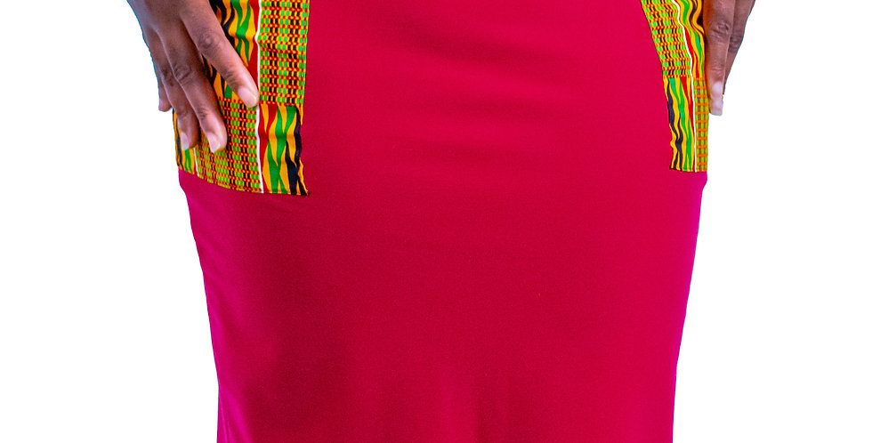 Double Pocket African Print Skirt