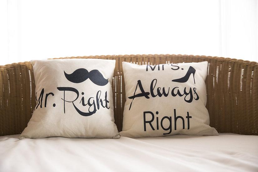 ペアクッションカバー/MR&MRS Right II