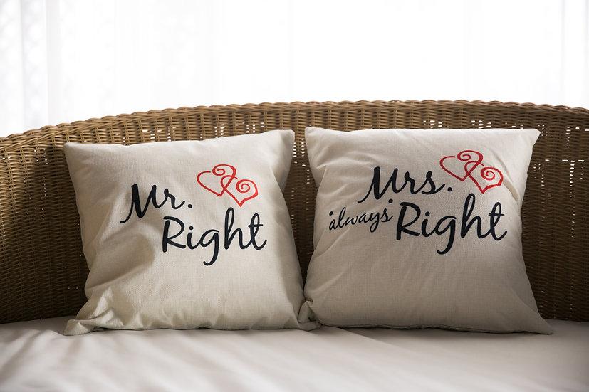 ペアクッションカバー/MR&MRS Right