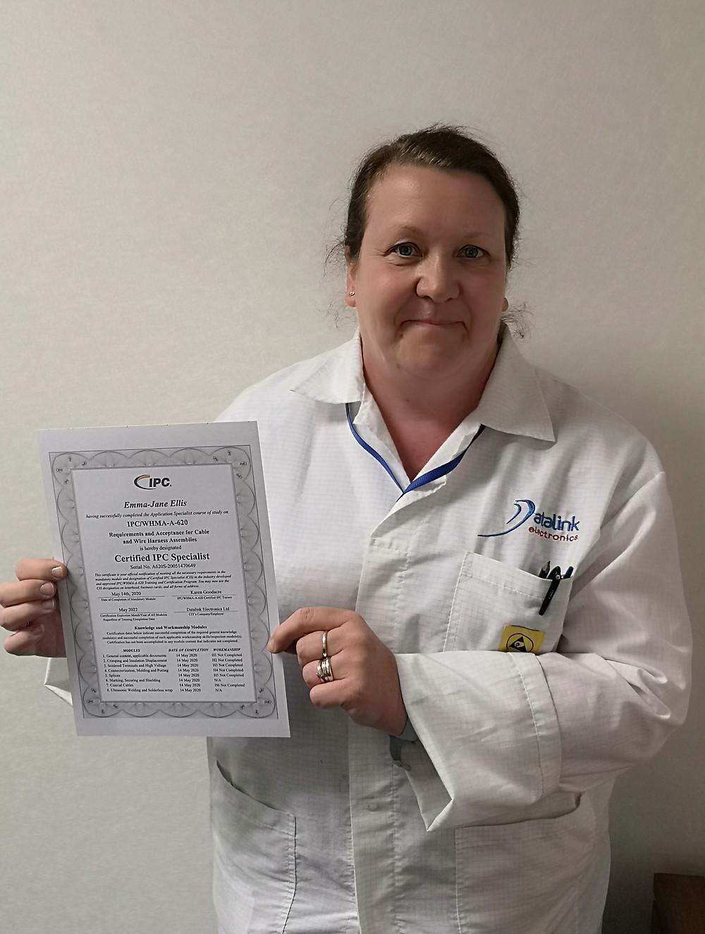 Emma Ellis holding IPC 620 certificate