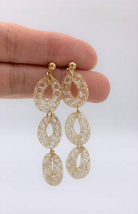 Triple Drop Link Mesh Chain Gem Stone Dangle Earring