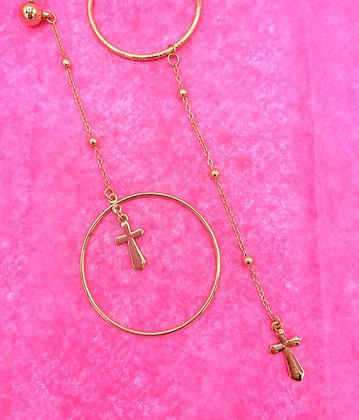 Cross Ring Drop Earring
