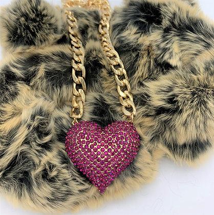 Rhinestone Heart Pendant Cuban Link Necklace