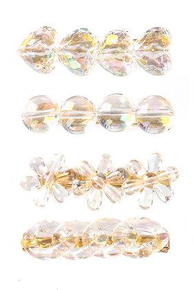 Clear Crystal Heart Hair Clip Set