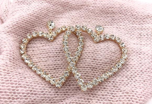 Crystal Gem Heart Drop Earring
