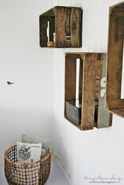apple crates on the wall