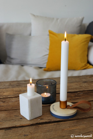 diy lysestake i tre // diy wooden candle holder