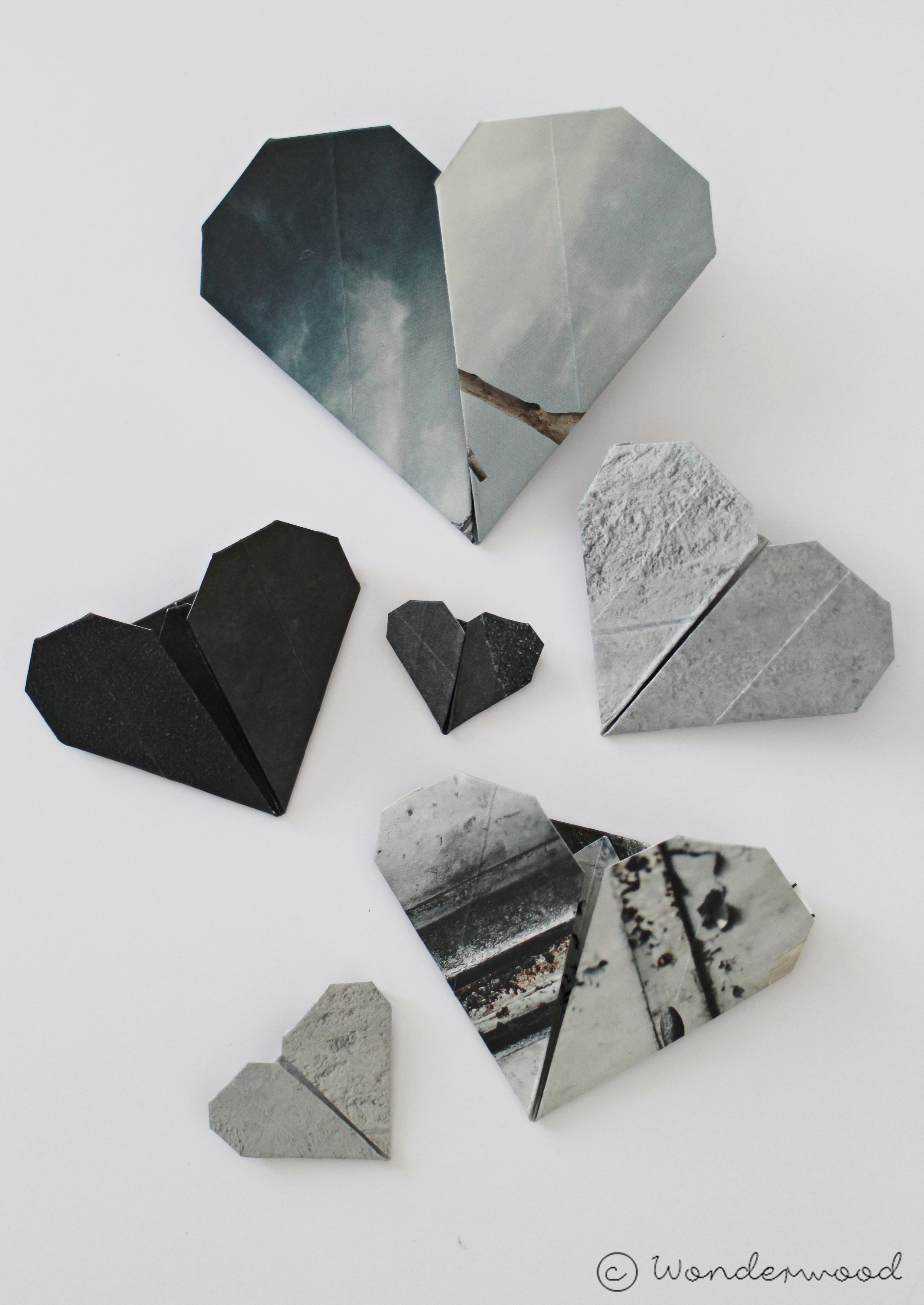 rustic origami hearts
