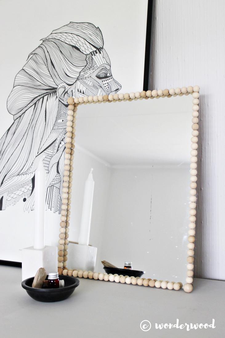 diy speil med tre-perler // diy beaded mirror