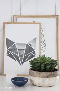 geometric fox poster