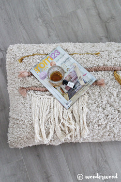 IKEA HACK: bathroom mat to boho pillow