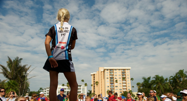 Speacking before the race as the IronKids Ambassador