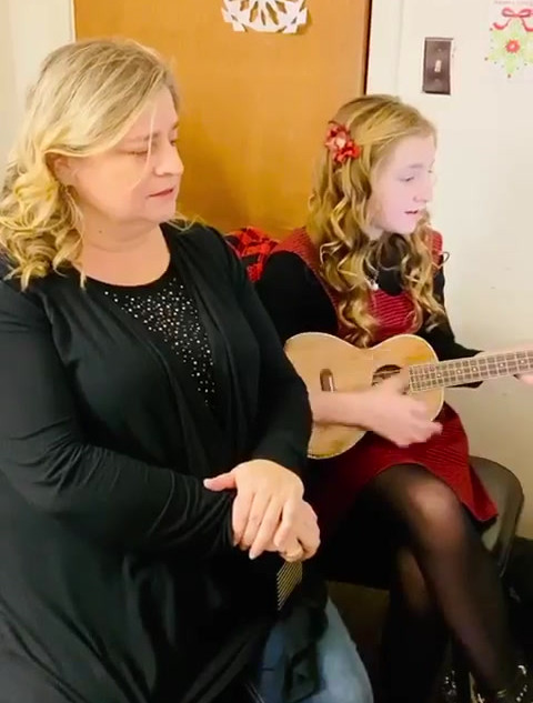 "Kyla Carter singing ""Can't Help Falling in Love"" with her White Christmas Tour teacher Lori Betz"