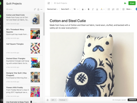 Keep Track of Your Quilt Projects with Evernote