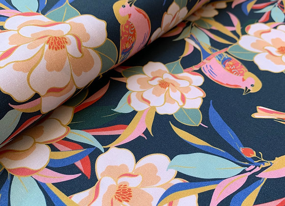 Magnolia Wonderland Navy from PBS Fabrics