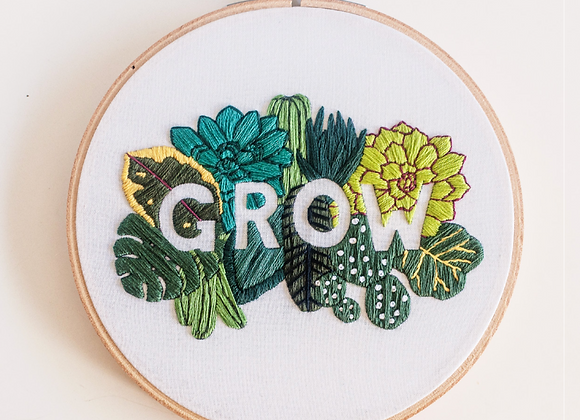 """GROW"" PDF Embroidery Pattern by Brynn & Co"