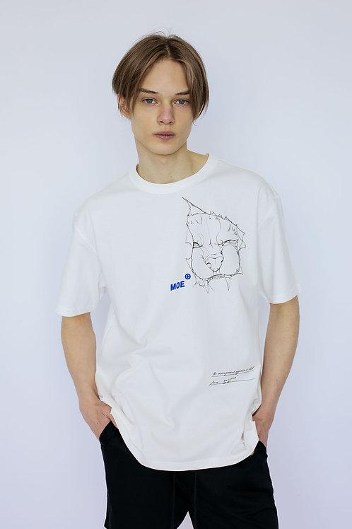 """Свободная футболка молочного цвета с принтом """"Anonymous aggressors club"""""""