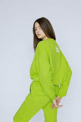 """Объемный женский свитшот лаймового цвета с принтом """"Spring"""""""