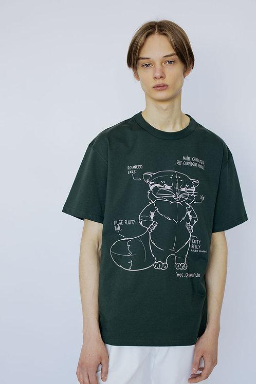 """Свободная футболка елового цвета с принтом """"Манул"""" из коллекции CR EN VU"""