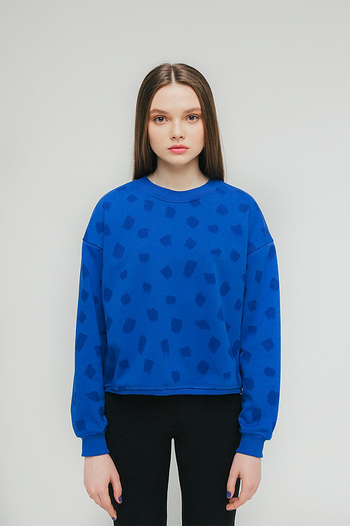 Женский свитшот с принтом Берёзка синий МОЕ MADE ON EARTH сделано на земле