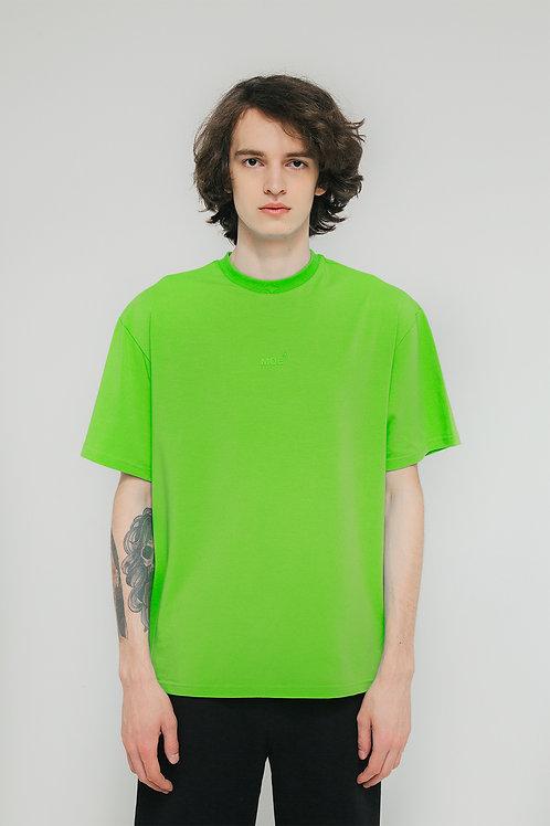 Футболка оверсайз зеленая лаймовая с логотипом МОЕ MADE ON EARTH сделано на земле