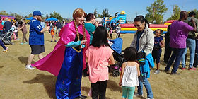 Dazzling Princess Parties Character at local Calgary YYc Summer Fall BBQ Event