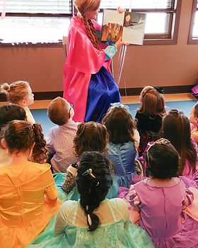 Dazzling Princess Parties Chsracter Entertainment storytime at childs birthday event