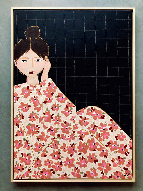 Girl with flower dress black