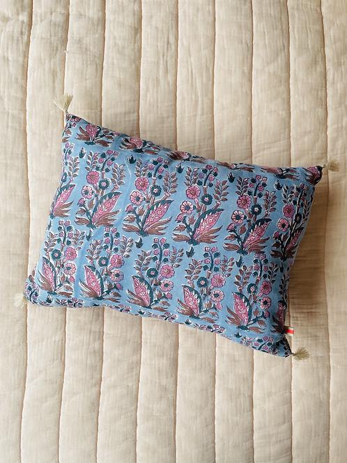 Bohemian pillow light blue