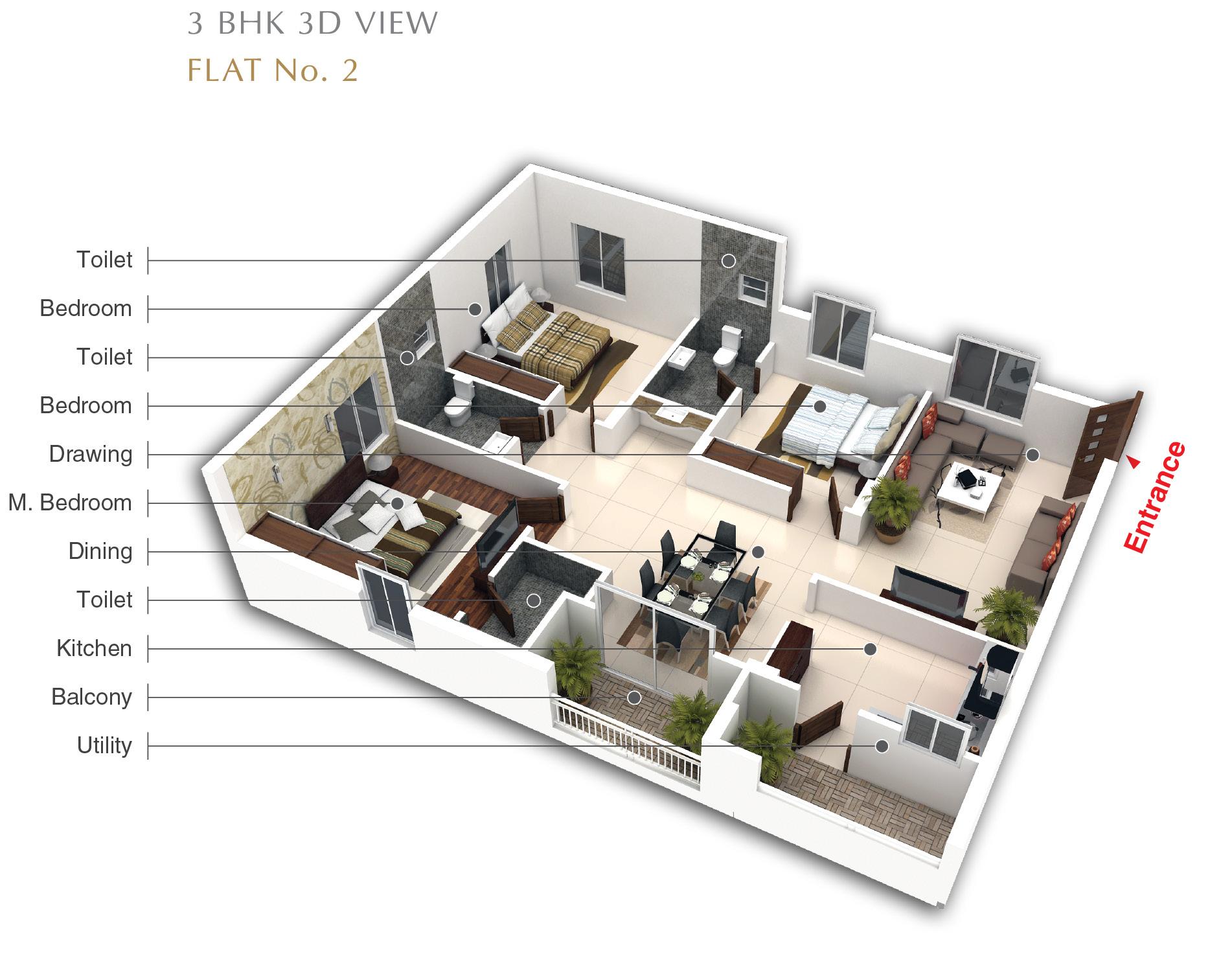 Black A 3D View Fl No 2