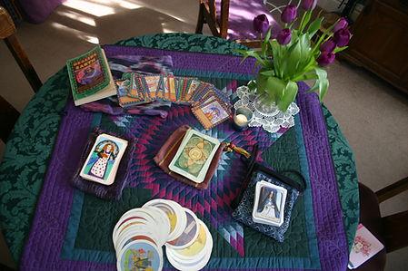 Tarot card decks on table pic Bolden.jpg