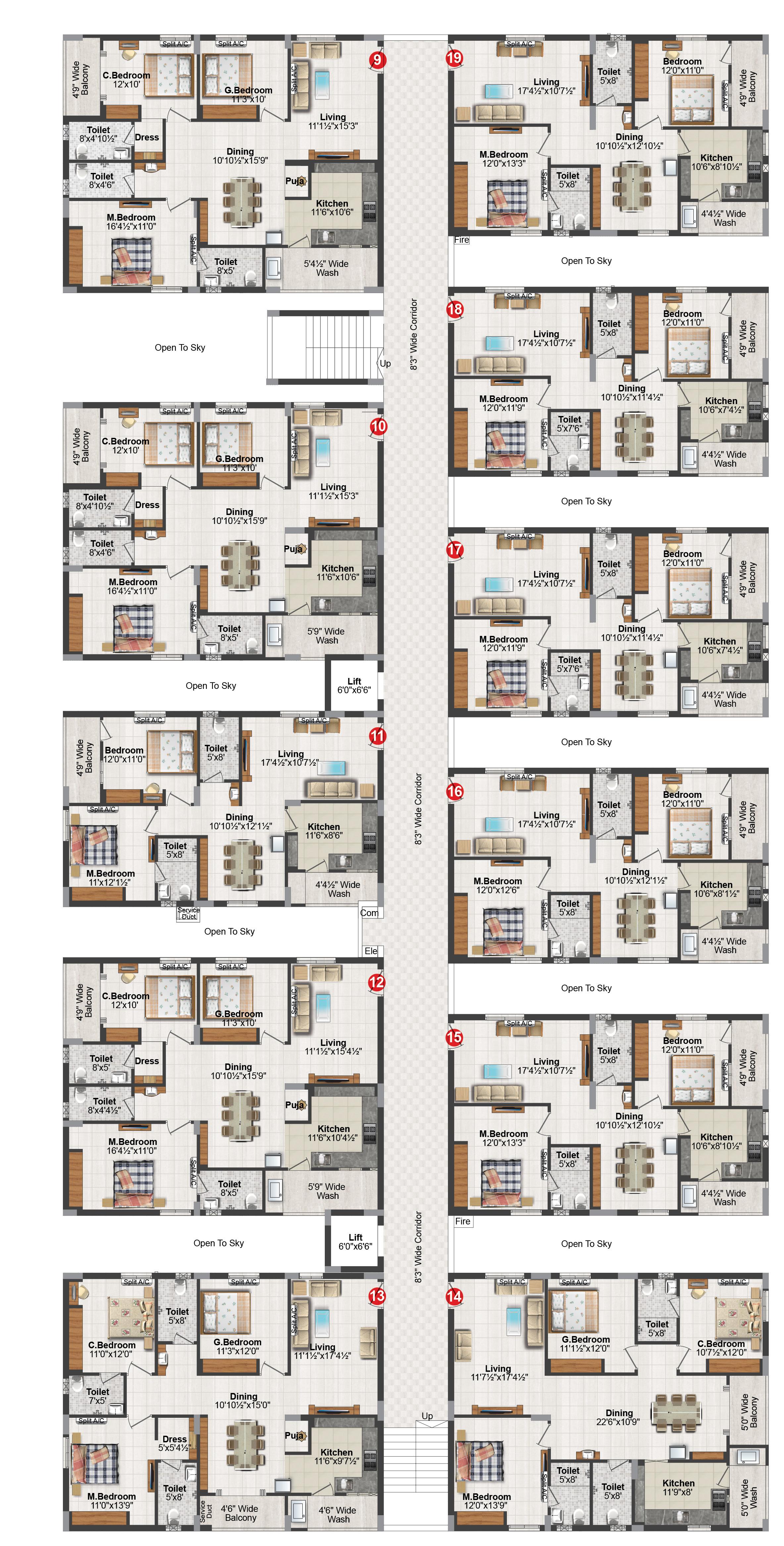 Black B Typical Floor Plan