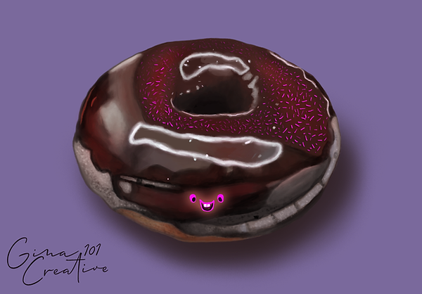 Chocolate Doughnut With Smiley Face By G