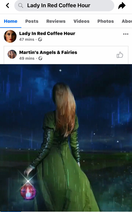 Edna posing as Martin Hail then sharing my video to her main Coffee Hour page.