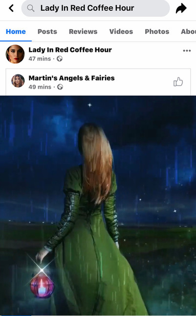 My same work, only Edna posted it to her original coffee hour page and also to her Martin Angels & Fairies page.  Both pages have been disabled by Facebook for © violations.