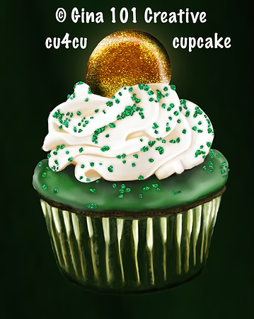 St Patricks Day CU Cupcake Painting by G