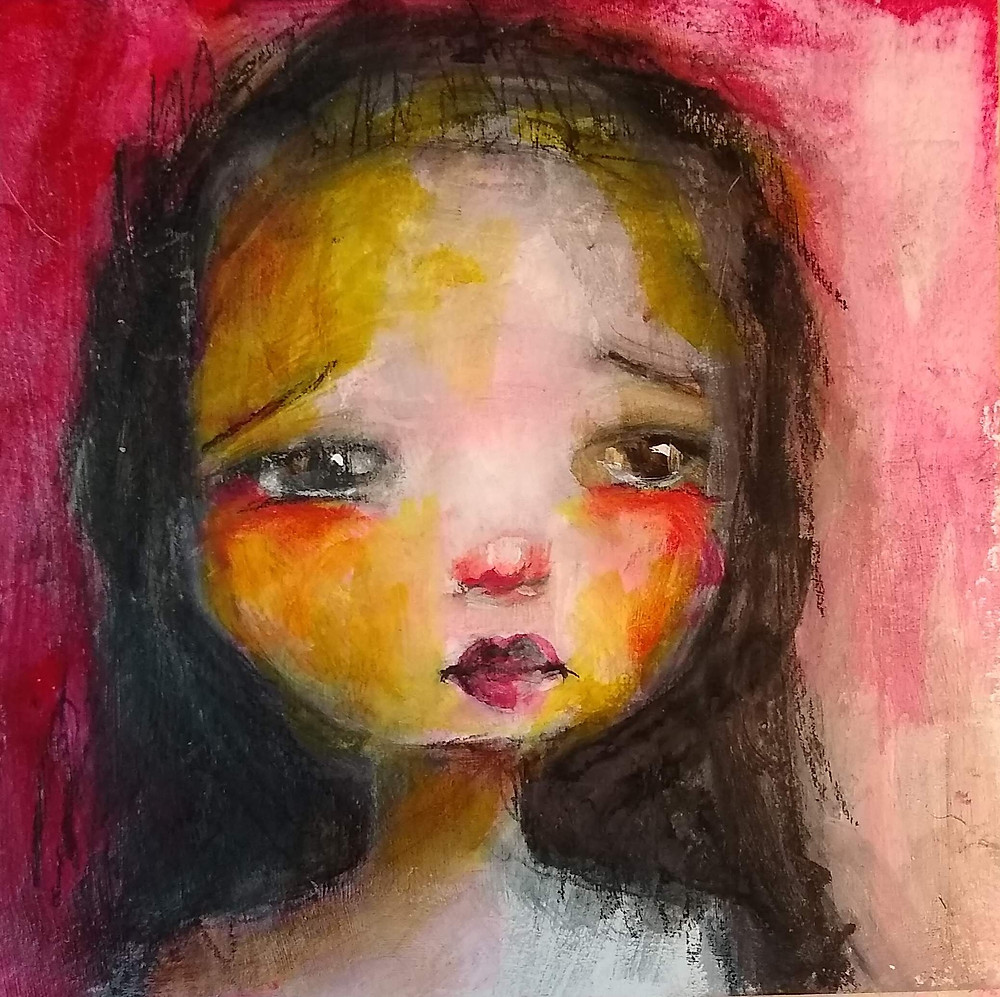 Painting of a sad child
