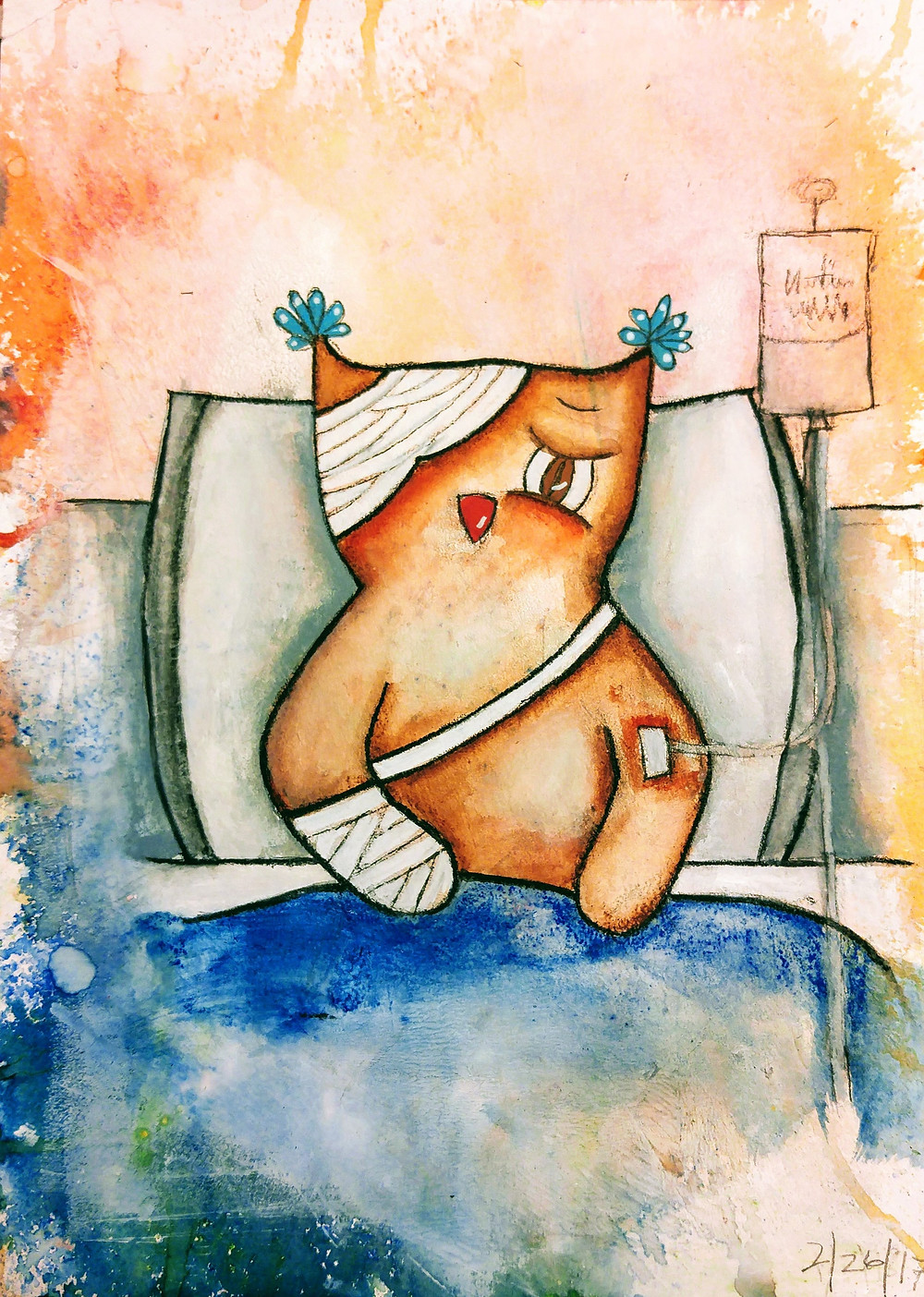 painting of a sick owl in a hospital bed