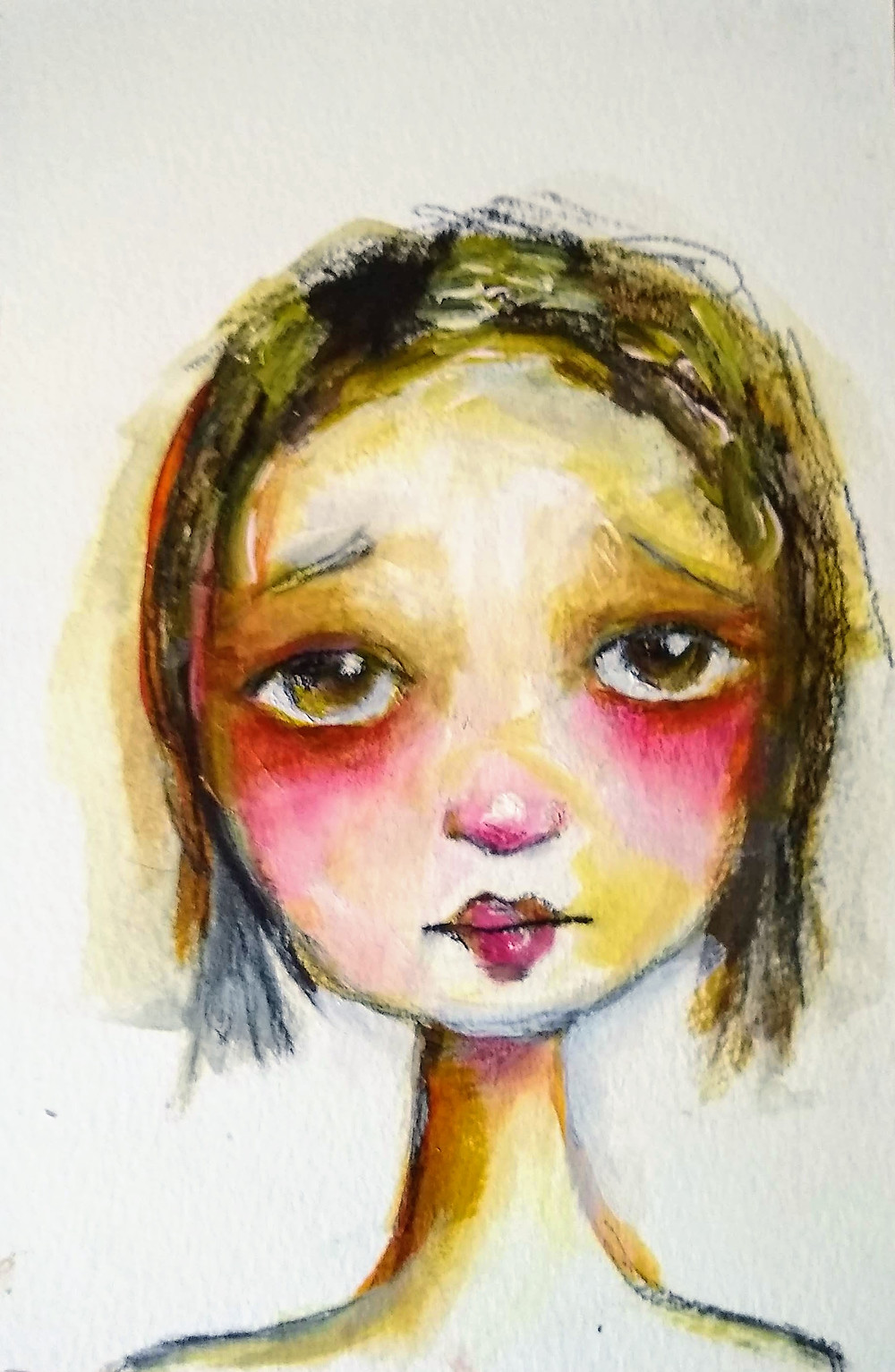 Sad child painting