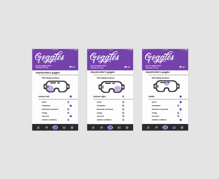 GOGGLE SETTINGS PAGE