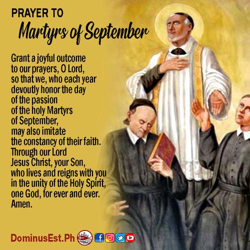 September 2 Prayer to Martyrs of Septemb