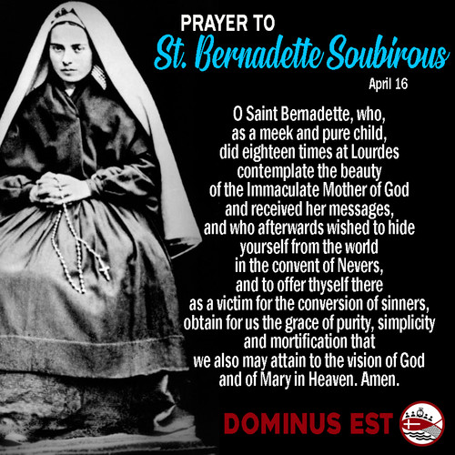 April 16 Prayer to Bernadette Subirous.j
