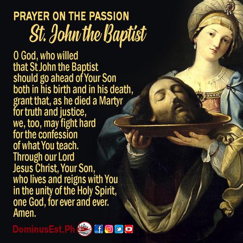 August 29 Prayer on Passion of St John t