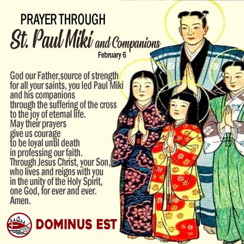 Feb 6 Prayer through St Paul Miki and Co