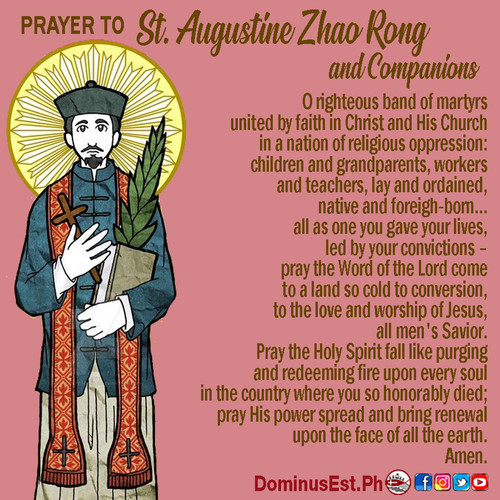 July 9 Prayer to Augustine Zhao Rong and
