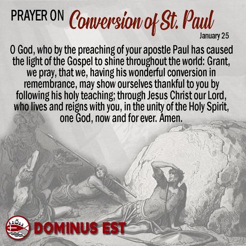 January 25 Prayer on Conversion of Paul.